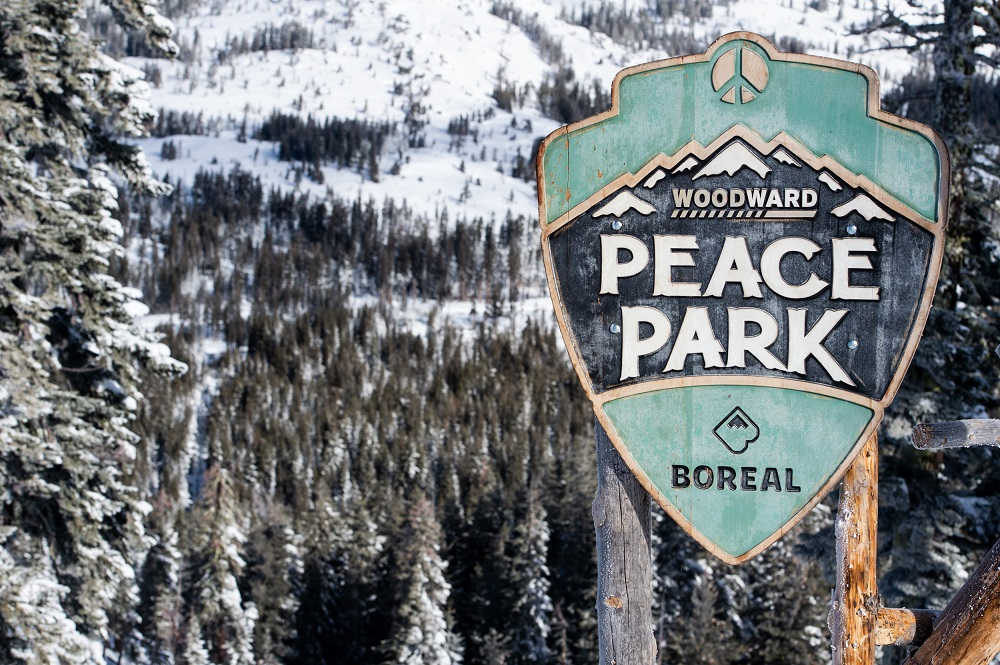 The 2020 Woodward Peace Park Sign at Boreal